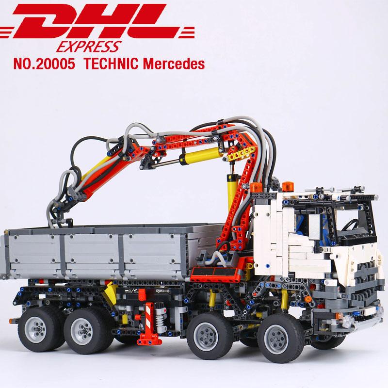 DHL 20005 Technik Auto Spielzeug Die 42043 Arocs 3245 Motor Technik Auto Spielzeug Montage Auto Modell Bausteine Kinder Weihnachten geschenke