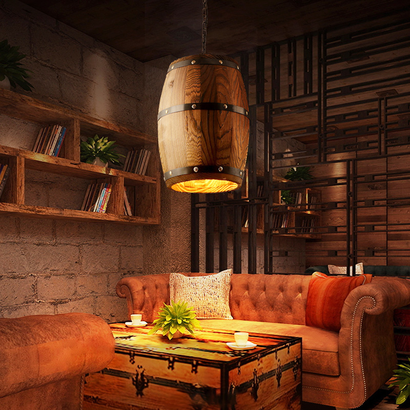 1 Pc Wood Wine Barrel Hanging Fixture Pendant Lighting Suitable For Bar Cafe Lights Ceiling Restaurant Barrel Lamp