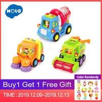 HOLA 386 (lot de 3) jouets de voiture à Friction Push & Go pour garçons-camion balayeuse, camion malaxeur, camion jouet moissonneuse