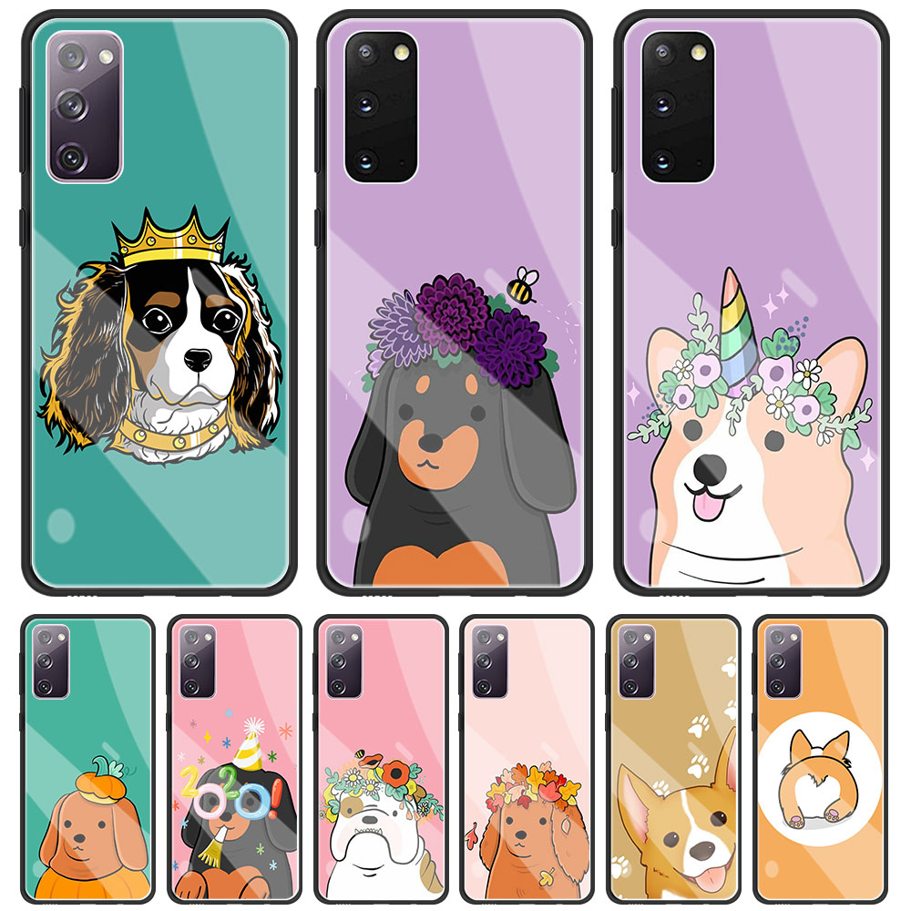 Case For Samsung S20 FE S21 Ultra S10 S9 S8 Plus Phone Shell For Galaxy Note 20 Ultra 10 Glass Cover Spaniels Cartoons Dog Cute