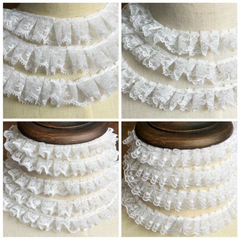 3 Meters Pleated Chiffon 2-Layer Lace Edge Gathered Ruffle Trim Ribbon 5 cm Width White Trimmings Fabric Embroidered Applique Sewing Craft Wedding Bridal Dress Embellishment Party Clothes Embroidery