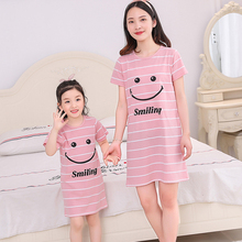 New parent-child pajamas mother and daughter summer cotton short-sleeved nightdress cartoon princess girl home service
