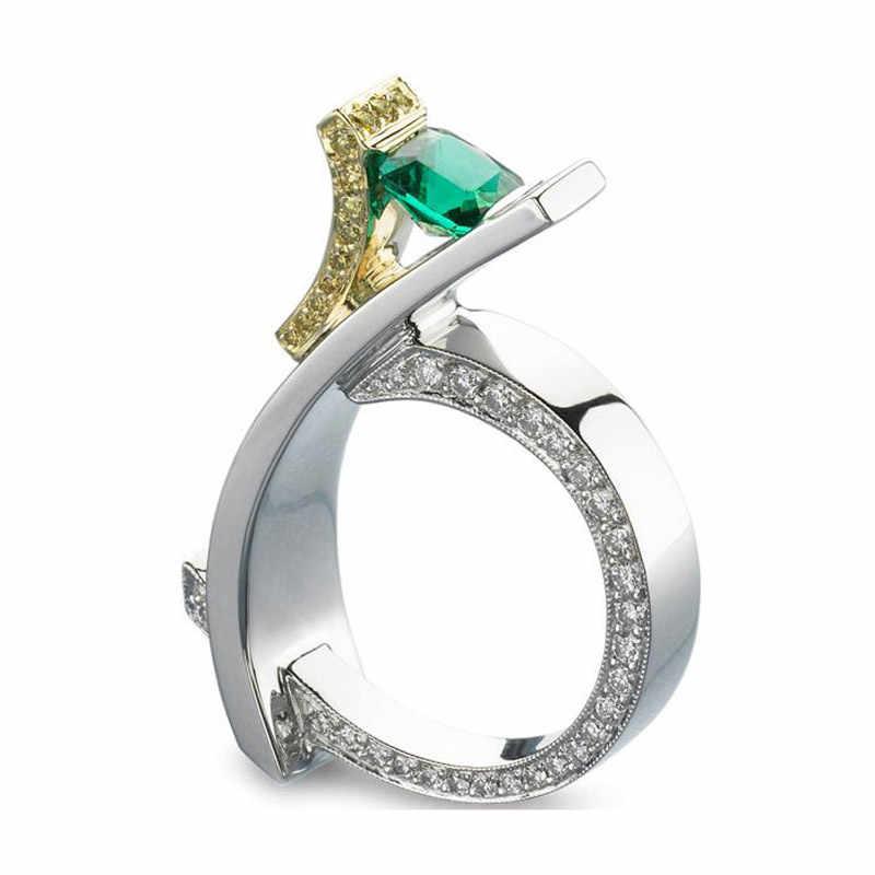 かわいい男性女性スモールグリーンストーンリング高級 925 シルバー結婚指輪の約束婚約指輪男性と女性