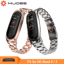 Mijobs Mi Band 4 Strap Metal Wrist for Xiaomi Screwless Stainless Steel Wristband 3 Smart Watch Bracelet