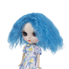 Wigs only!Blyth doll wigs high temperature fiber Air  Short blue hair suitable for Blyth accessories 25cm 9-1