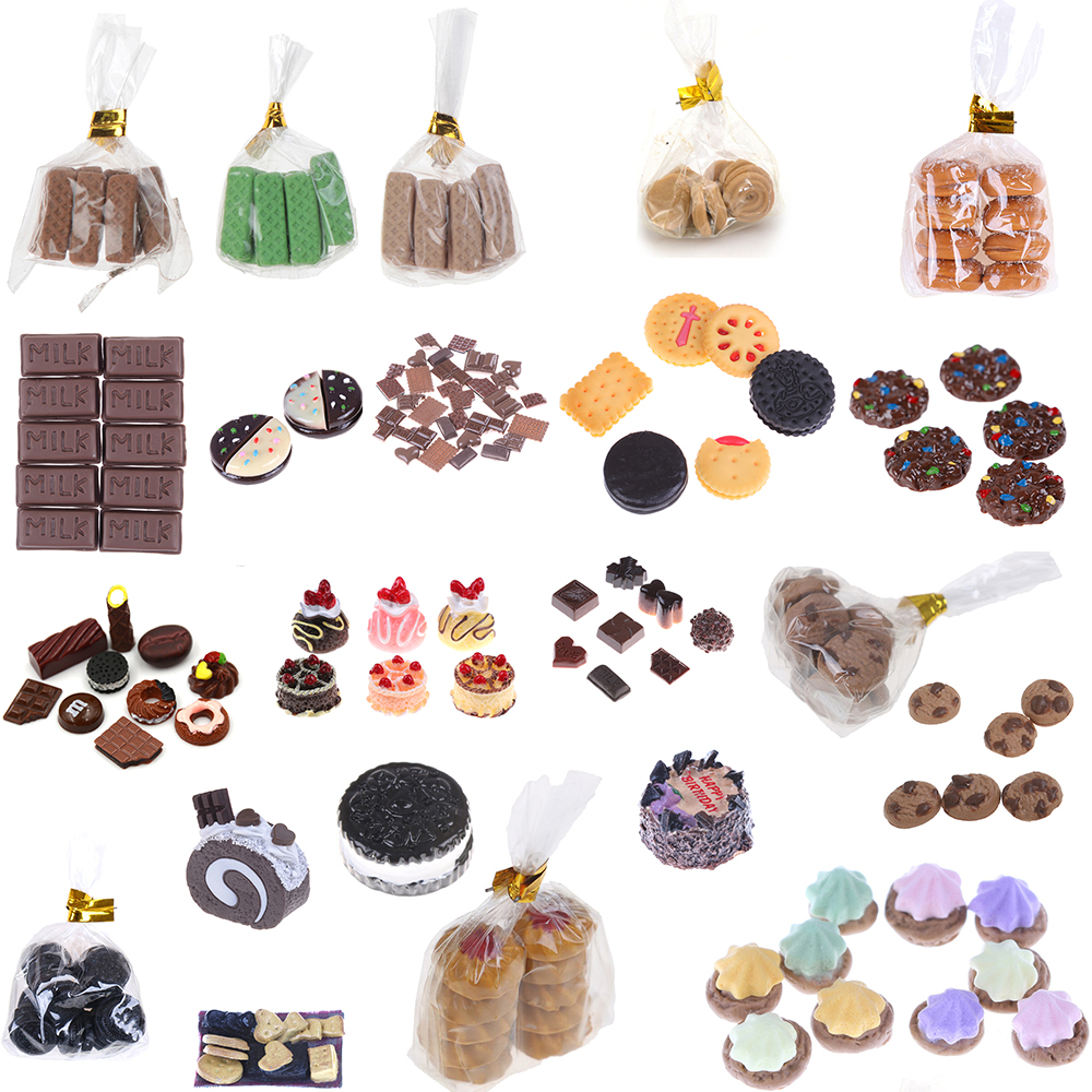 For Children Kids Cookies Chocolate  Biscuits Dessert Glass Can Miniature Dollhouse Kitchen Decoration Bakery Pretend Play Toys