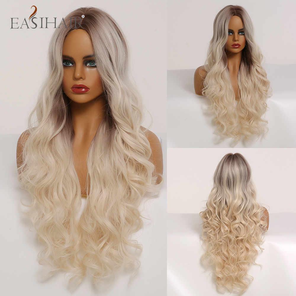 EASIHAIR Ombre Brown untuk Rambut Pirang Panjang Tubuh Bergelombang Wig dengan Sorotan Alami Rambut Wig Cosplay Sintetis Wig untuk Hitam/wanita Kulit Putih