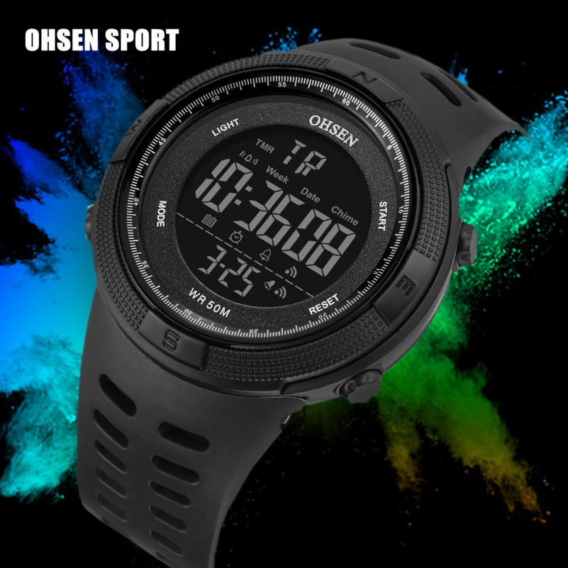 Digital Men Military Sport Watch Reloj Hombre Black 50M Diver Silicone Bracelet Men Wristwatches Waterproof Led Male Clocks Gift