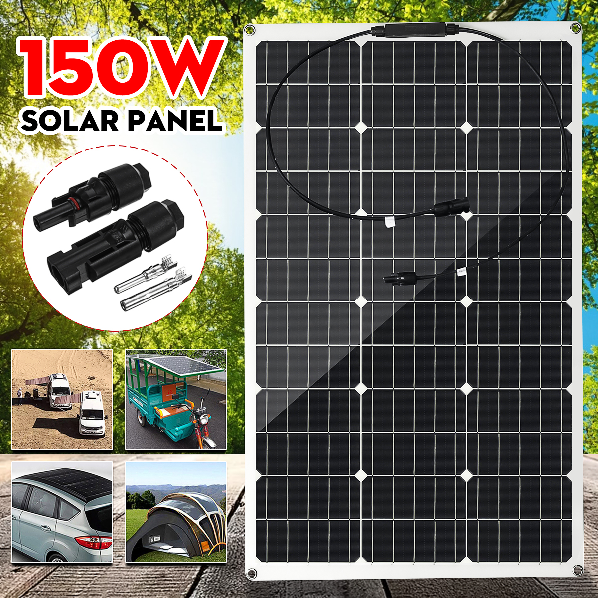 150W Solar Panel 18V Semi-flexible Monocrystalline Solar Cell DIY Module MC4 Cable Outdoor Connector Battery Charger Waterproof