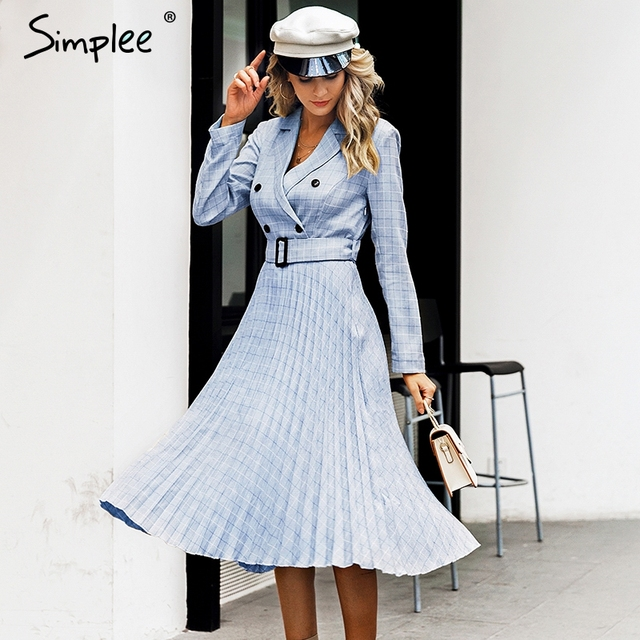 Simplee A-line v-neck blazer women midi dress Elegant long sleeve button sash female blazer dress Pleated office ladies dress 2