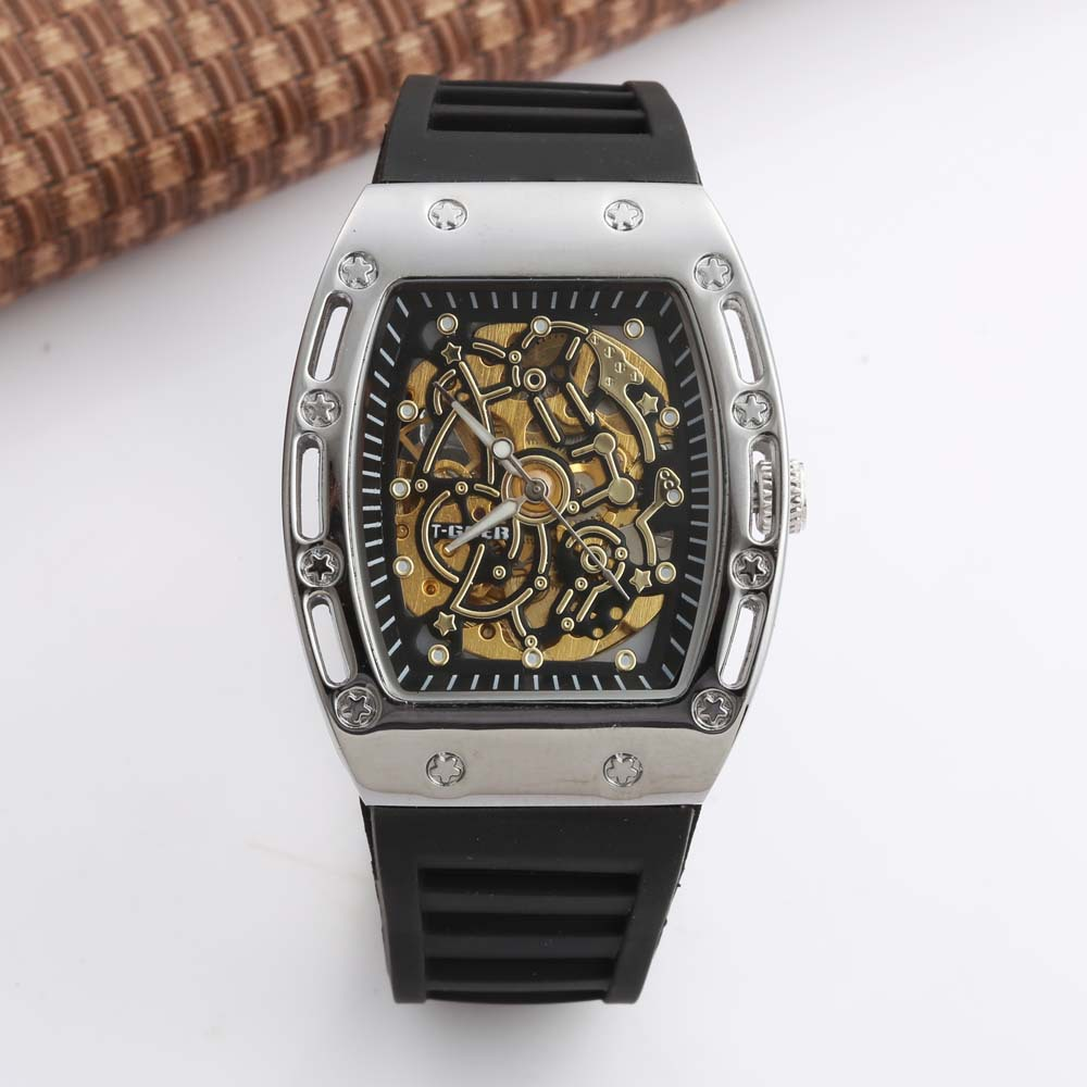 Hollow Transparent Wine Barrel-shaped Dial Men's Watch Automatic Mechanical Watch