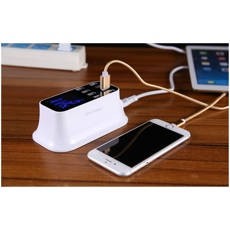 Tools : PHONEFIX Smart 8 Port Multiple USB Charger Adapter Desktop Micro USB Charger 2A 100V To 240V 8 Port Hub With LCD For Iphone Ipad