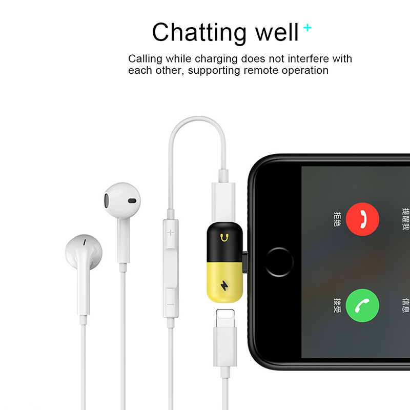 <font><b>For</b></font> <font><b>Iphone</b></font> Audio Charging Listening Calling <font><b>Connector</b></font> <font><b>For</b></font> <font><b>iphone</b></font> <font><b>X</b></font> 8 7 Plus XS XR Lighting <font><b>Headphone</b></font> Adapter AUX Splitter IY313 image