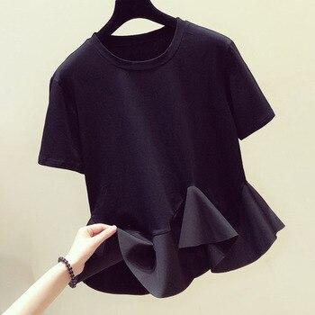 2020 Summer Cute Ruffle T Shirt Fashion Korea Japan Women Round Neck Casual Asymmetrical Top Tee Ladies Kawaii Black T Shirt цена 2017