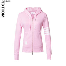 2020 brand women's pink hooded sweatshirts slim casual zipper up hoodies women spring fashion cotton sport jacket lady(China)
