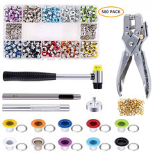 580 Sets Grommet Kit,Grommet Setting Tools Metal Eyelets Set with Install Tool Kit in Storage Box ,Leather Crafts DIY Projects
