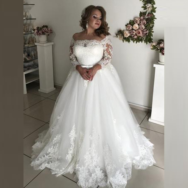 African Gorgeous White Lace Ball Gown Bridal Wedding Gowns Long Sleeves Bateau Neck Wedding Dresses for Bride Cut Out Back