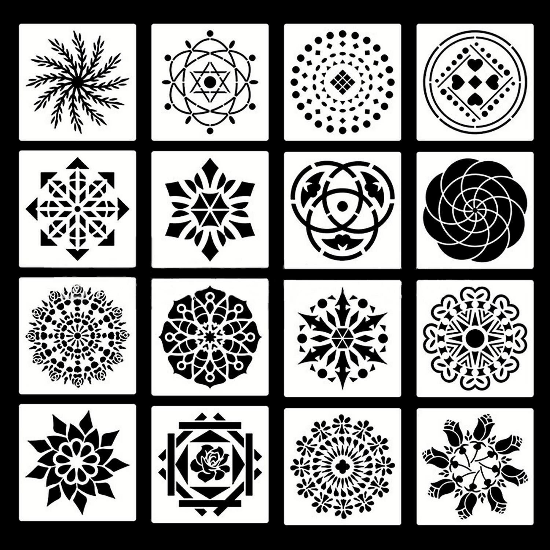 16PCS Mandala Dotting Painting Stencils Templates for DIY Craft Furniture Wood Canvas Rocks Fabrics Wall Art 13x13cm