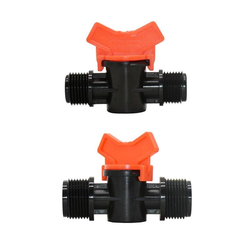 Male 1/2 3/4 Garden Tap 2-way Irrigation Valve 1/2 Mini Valve 2 Way Tap Waterstop Connectors Adapter 1pcs