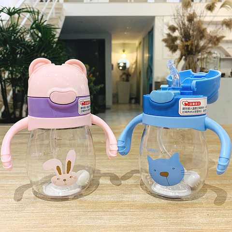 320ml Kids Feeding Straw Nipple Water Bottle Portable Hot Water Bottle Travel Mug Training Cup Learn Drinking Sippy Cup Two lids Pakistan