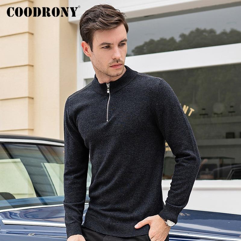 COODRONY Brand Turtleneck Men Zipper Stand Collar Pull Homme Autumn Winter Thick Warm 100% Merino Wool Sweater Men Jersey C3006