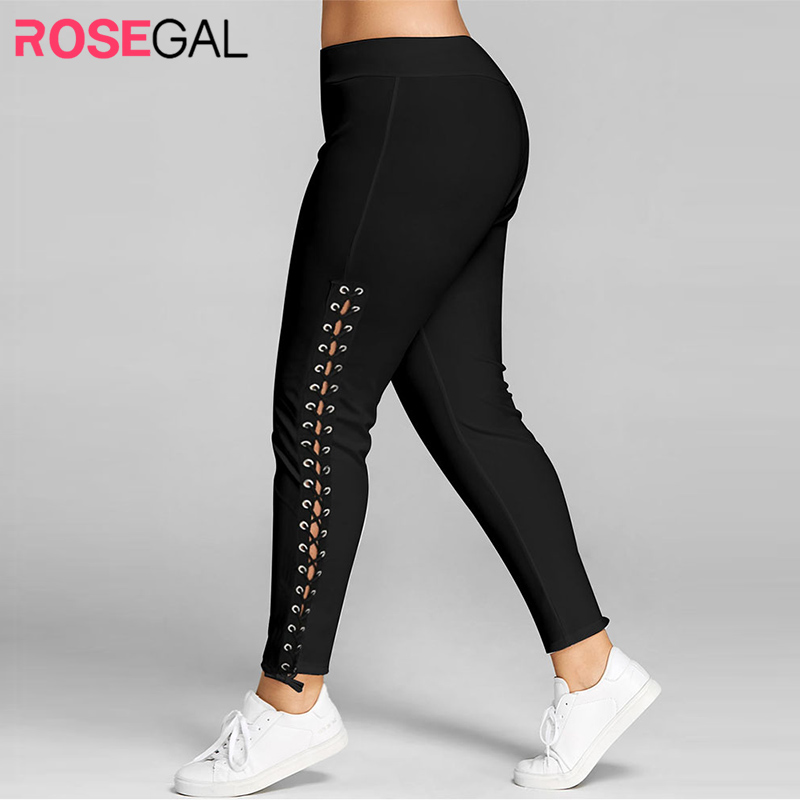 Rosegal Plus Size Lace Up Grommet Leggings 2019 Skinny Leggins Women Pencil Pants Trouser Black White Leggings 2019 Big Size 5XL