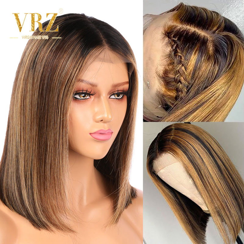 Lace Front Human Hair Wigs Ombre Honey Blonde Piano Color Highlight Short Bob Wigs For Black Women Pre Plucked 150% Density VRZ