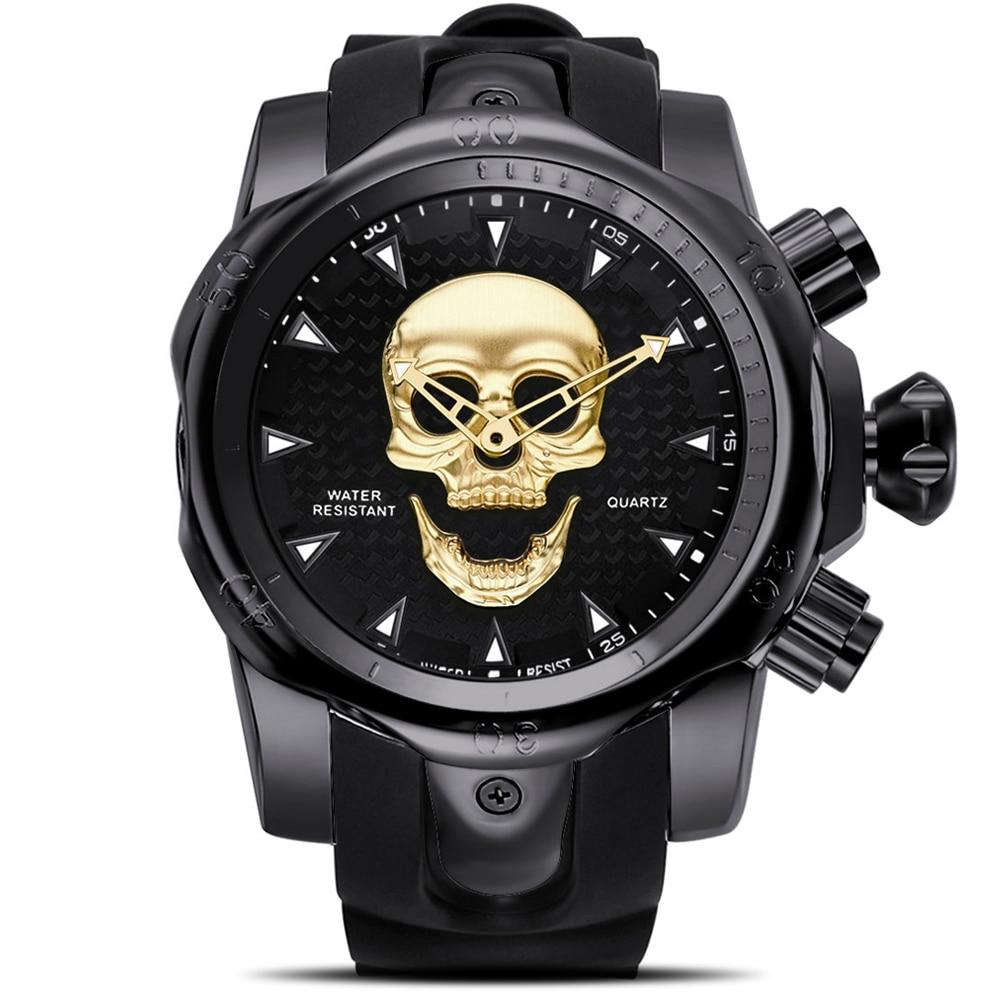 Steampunk Big Dial Skull Watch Men 3D Rotating Sport Silicone Strap Gold Black for Man Fashion Clock Gift relogio masculino