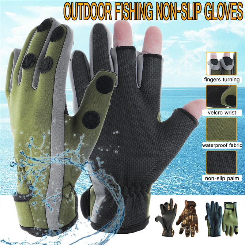 2 Pcs Outdoor Fishing Three Fingers Cut Non-slip Gloves Neoprene Camo Fishing Gloves Folding Finger Hunting Hiking-Windproof