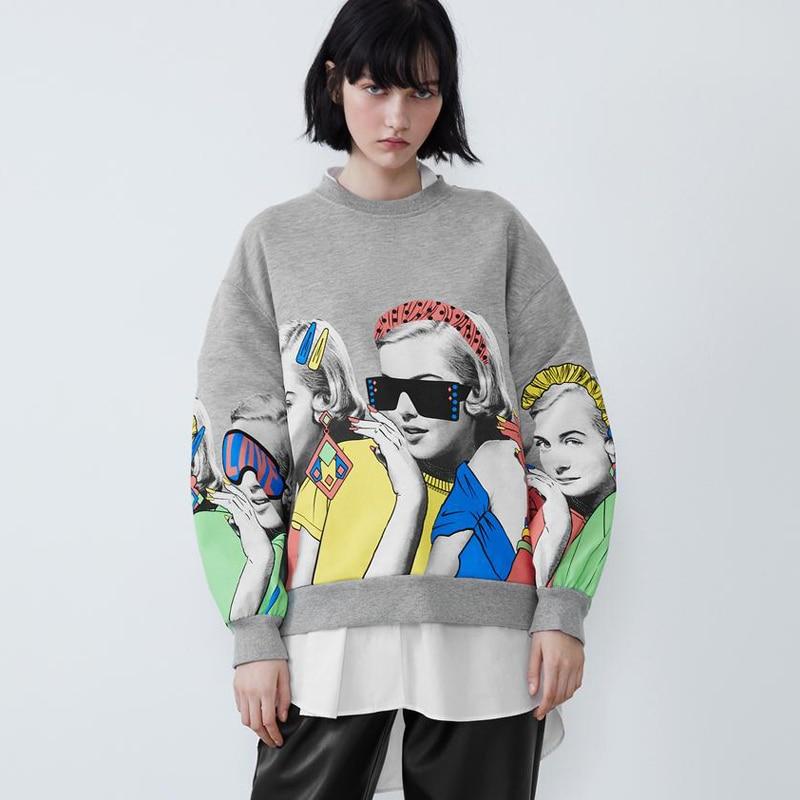 Casual O Neck Sweatshirts Women Fashion Character Printed Sweatshirt Women Elegant Long Sleeve Sweatshirt Female Ladies JW