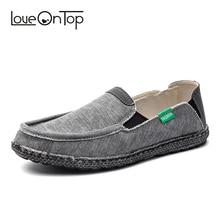 Loveontop Для мужчин; парусиновая обувь без застежки, на плоской подошве, Мокасины, удобная обувь из облегченного материала большого размера мужские повседневная обувь новые летние модные