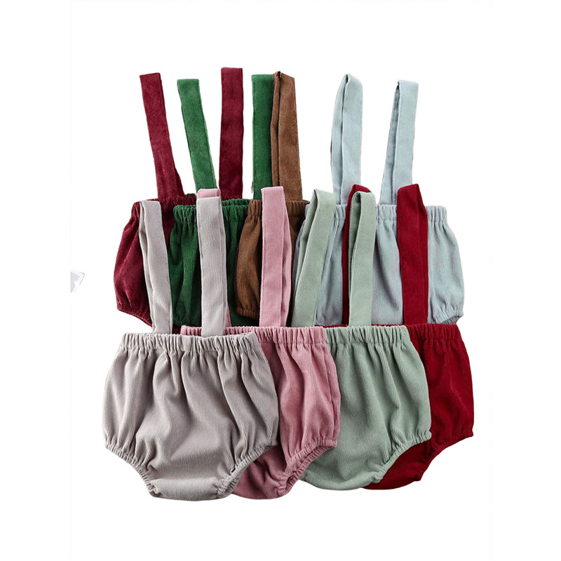 Summer Baby Boys Rompers Girls Cute Corduroy Suspender Rompers Baby Kids Clothing Toddler Shorts Bottoms 0-24M