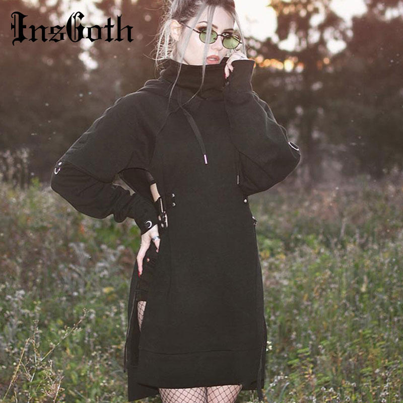 InsGoth Women Long Hoodies Sweatshirt Harujuku Loose Gothic Black Hooded Hollow Out Sexy Lace Up Patchwork Female Punk Hoodies