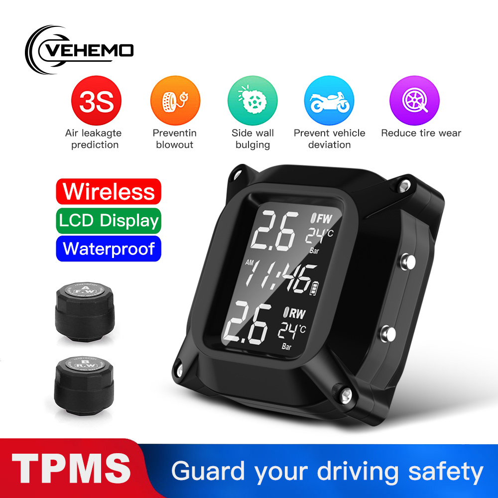 Motorcycle TPMS Tire Temperature And Tire Pressure Monitoring System LCD Screen 2PCS External Sensor Magnetic USB Quick Charge|Tire Pressure Alarm| |  - title=