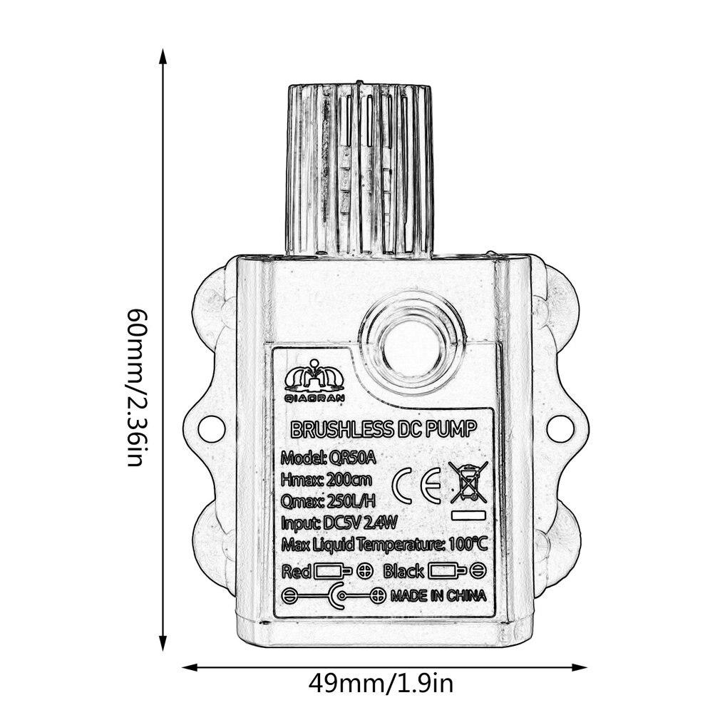 Купить с кэшбэком Decdeal Ultra-quiet USB Mini Brushless DC Water Pump DC5V 2.4W 250L/H Lift 2m Submersible Fountain Aquarium Circulating