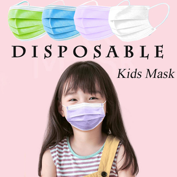 10/20/50/100/200PCS Kids child Blue Pink White Purple Mouth Mask 3lay Non Woven Mask Thickened Disposable Masks Earloop Masks