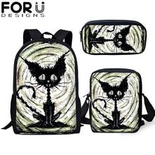 FORUDESIGNS Children School Bag for Girls Gothic Cat 3D Pattern Orthopedic Backpack Kids Book Bags 3pcs/Set Women Travel