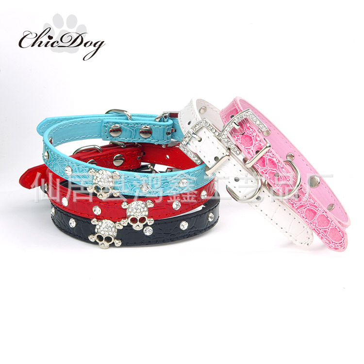 Pet Collar Dogs And Cats Skull With Man-made Diamond Neck Ring Small Dogs And Cats