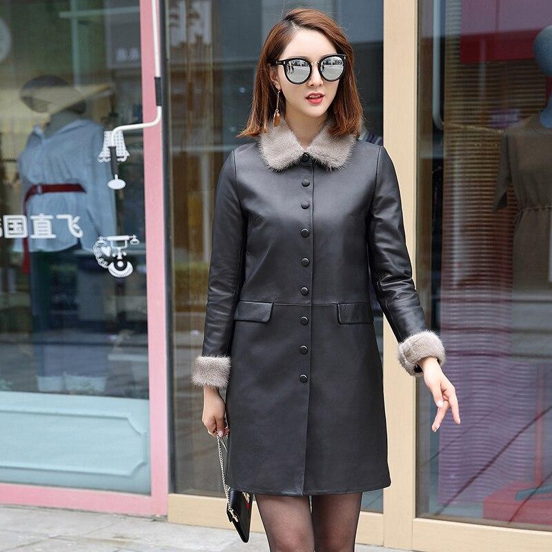 Women Genuine Leather Jackets Long Coat 100% Real Sheepskin Coat Female Mink Fur Collar Down Jacket Winter Jacket  A242