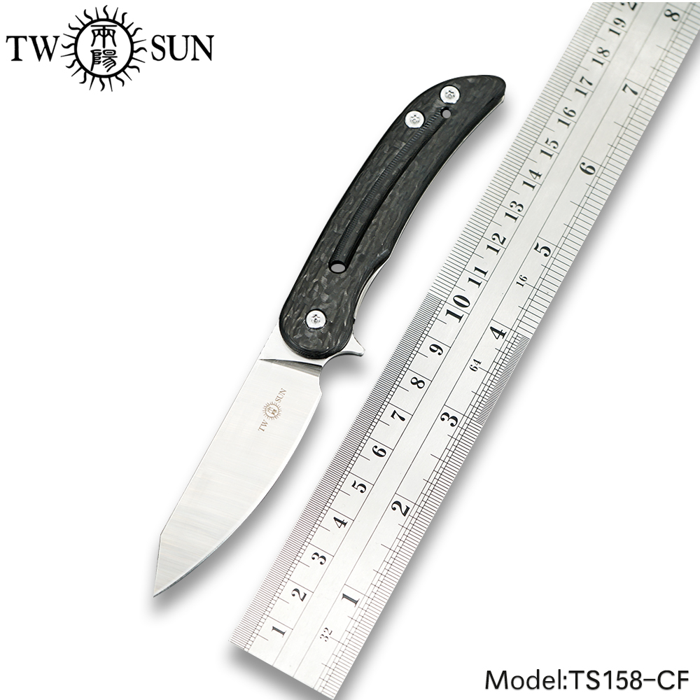 TWOSUN Mini M390 Blade Folding Knife Pocket Knife Tactical Hunting Knife Outdoor Camping Tool EDC Titanium Carbon Fiber TS158