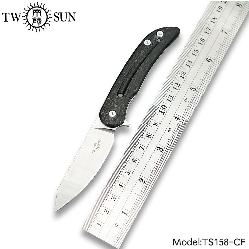 TWOSUN Mini M390 blade folding knife Pocket Knife tactical hunting knife Outdoor camping tool EDC Titanium Carbon Fiber TS158