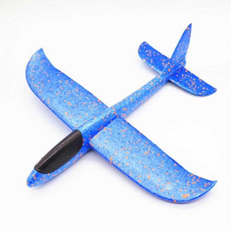 35 см детские игрушки «сделай сам» ручной бросок летающий самолет s пена модель аэроплана светится в темноте Летающий Plane Самолет игрушки для детей - Цвет: 48cm Not Lamp Blue