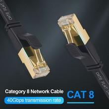 40 Гбит/с 2000 МГц плоский кабель для локальной сети Ethernet на расстоянии до 20 м 15 м Cat фотокамеры мгновенного действия 8 7 RJ45 Cat7 Cat8 кабель Ethernet rj 45 с...
