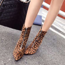 BYQDY Autumn Winter Boots Fashion Leopard High Heels Ankle Sexy Pumps Pointed Toe Wild Female Zipper Animal Print
