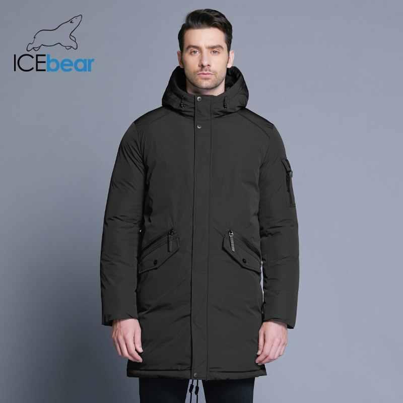 ICEbear 2019 新高品質冬コートシンプルなファッションコートビッグポケットデザインのメンズ暖かいフードブランドファッションパーカー MWD18718D