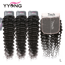 Yyong 말레이시아 딥 웨이브 번들 7x7 레이스 클로저 인간의 머리카락 묶음 레미 8 30 인치 번들 정면 closu