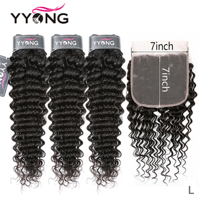 Yyong Malaysian Deep Wave Bundles With 7x7 Lace Closure Human Hair Bundles With Closure Remy 8-30inch Bundle With Frontal Closu