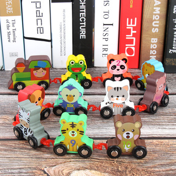 Kids Train Toy Wooden Magnetic Train Animal Car Toys Wooden Track Train Railway Vehicles Children Birthday Gifts zhenwei magnetic thomas train wooden track car children s puzzle early learning toy cake decoration diecast train action figure