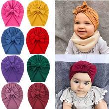 Sombrero sólido grueso para recién nacido, gorra de algodón suave con lazo, capó de turbante, accesorios sólidos para Baby Shower, 20 Uds. Por lote, 2020