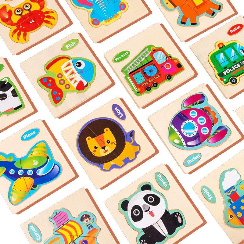 Детские игрушки Деревянный 3D пазл 10,5c * 10,3 см Мультяшные животные познавательные головоломки обучающие игрушки для детей Подарки